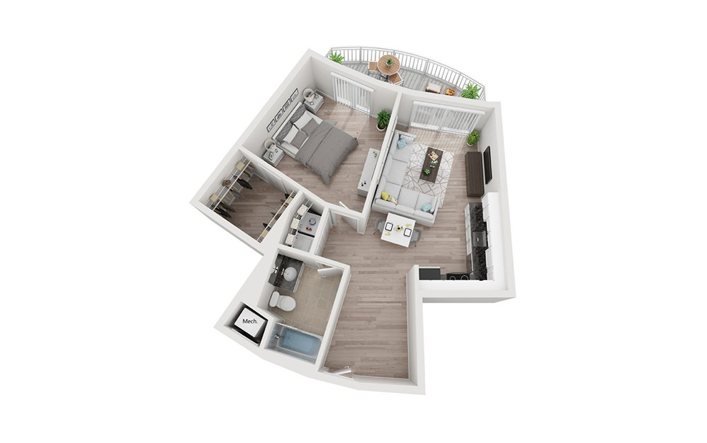 A2 - 1 bedroom floorplan layout with 1 bath and 900 square feet.