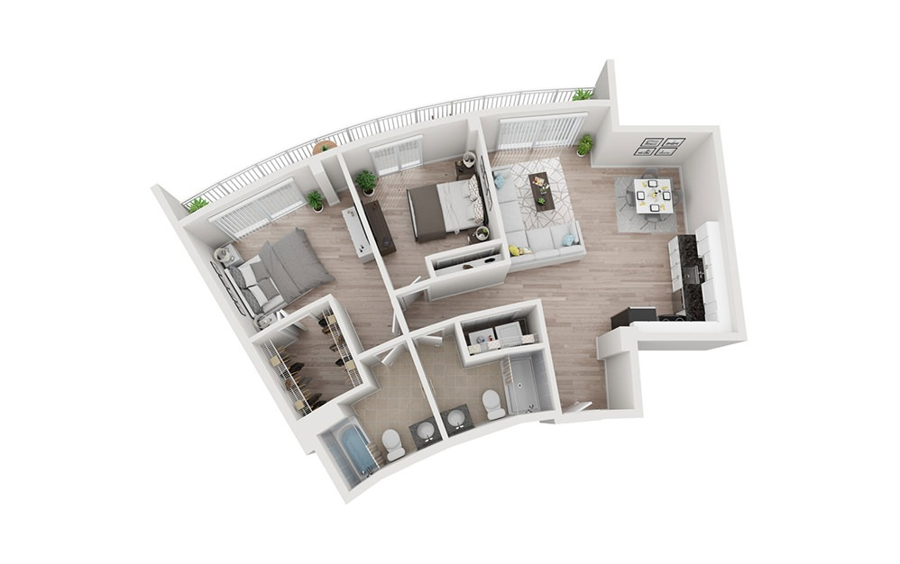 B2 - 2 bedroom floorplan layout with 2 baths and 1300 square feet.