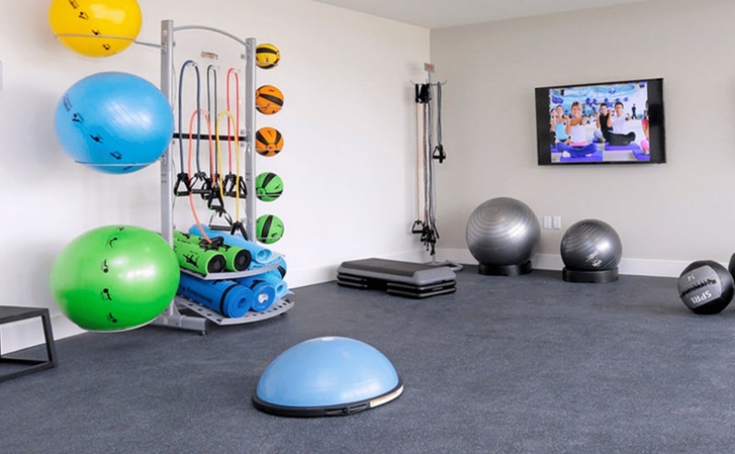 Fitness Area with treadmills, dumbbells, and yoga balls